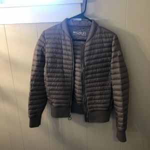 Michael Kors packable down puffer jacket xs taupe
